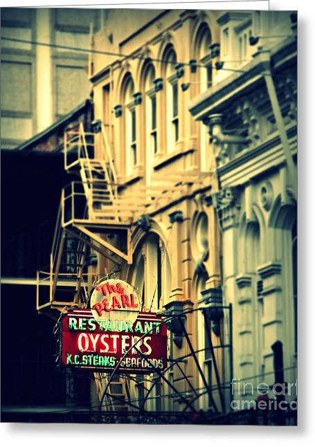 Historical Pictures Greeting Cards - Neon Oysters Sign Greeting Card by Perry Webster