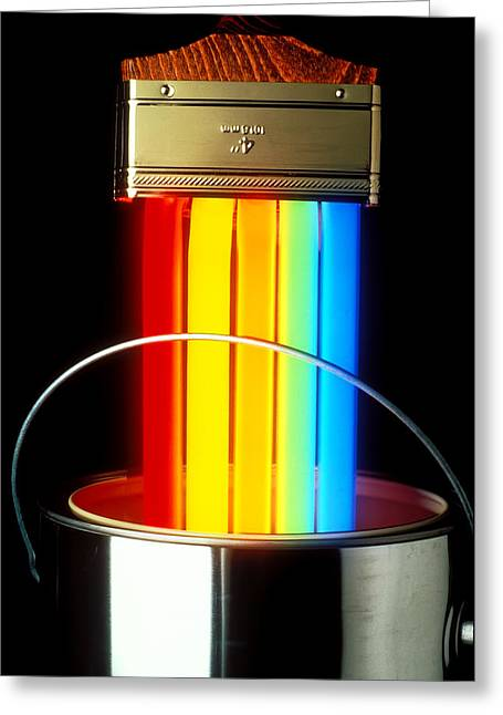 Neon Paintbrush Greeting Card by Garry Gay