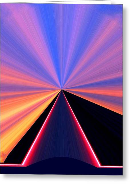 Diffusion Greeting Cards - Neon Pinnacle Greeting Card by Will Borden