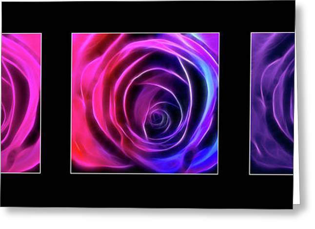 Triptych Art Centre Greeting Cards - Neon Roses Triptych on Black Greeting Card by Lesley Smitheringale