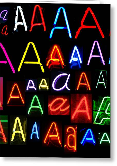 Letter J Greeting Cards - Neon series letter A Greeting Card by Michael Ledray
