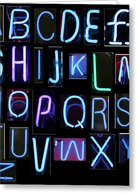 Letter J Greeting Cards - Neon sign series featuring the Alphabet in blue Greeting Card by Michael Ledray