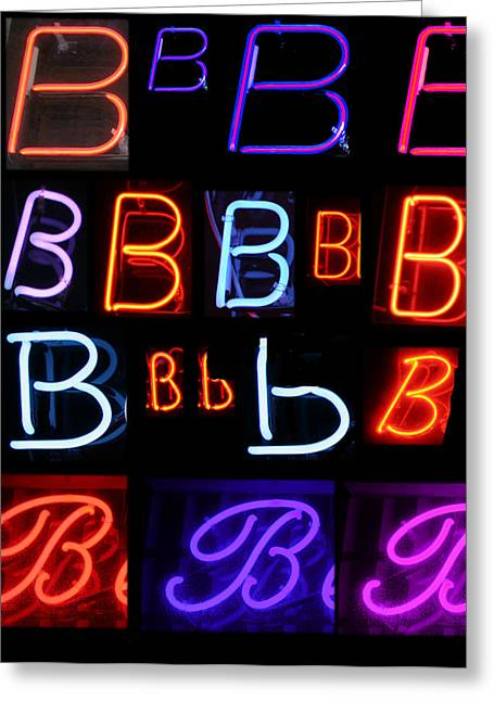 Electrical Stimulation Greeting Cards - Neon Sign series featuring the letter B  Greeting Card by Michael Ledray