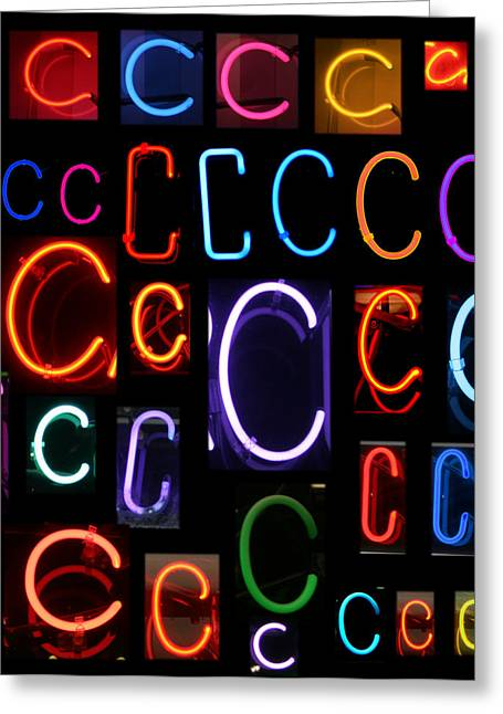 Letter J Greeting Cards - Neon sign series featuring the letter C Greeting Card by Michael Ledray