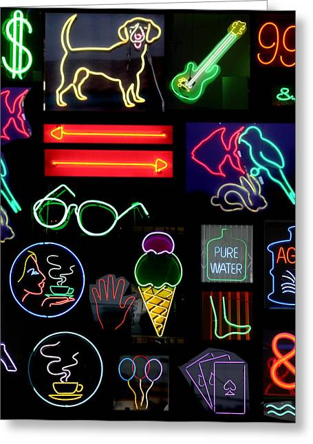 Coffee Prints Greeting Cards - Neon Sign Series With Symbols Of Various Shapes And Colors Greeting Card by Michael Ledray