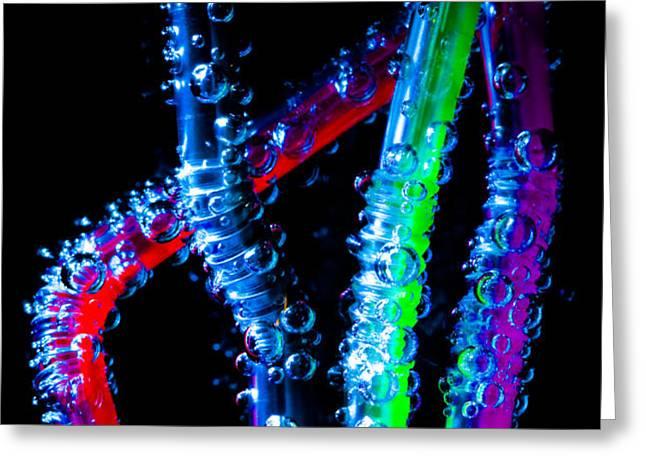 Neon Sparkling Straws Greeting Card by Marc Garrido