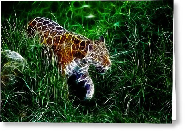 Tiger Fractal Greeting Cards - Neon Tiger Greeting Card by Stefan Kuhn