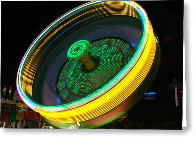 Amusements Digital Art Greeting Cards - Neon Tilt A Whirl Greeting Card by Sonja Quintero