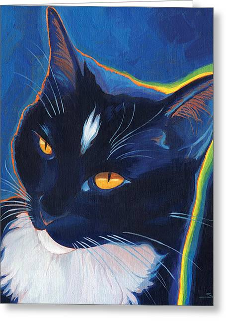 Tuxedo Greeting Cards - Neon Tux Greeting Card by Shawn Shea