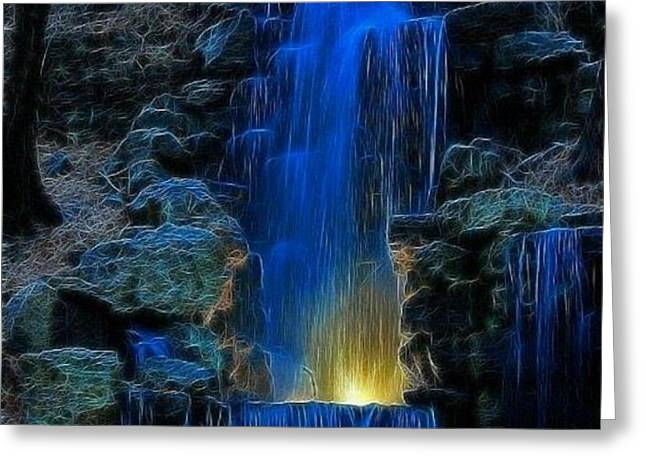 Neon Waterfall Greeting Card by Robert Anderson