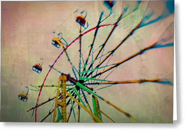 Amusements Greeting Cards - Neon Wheel Greeting Card by Joye Ardyn Durham