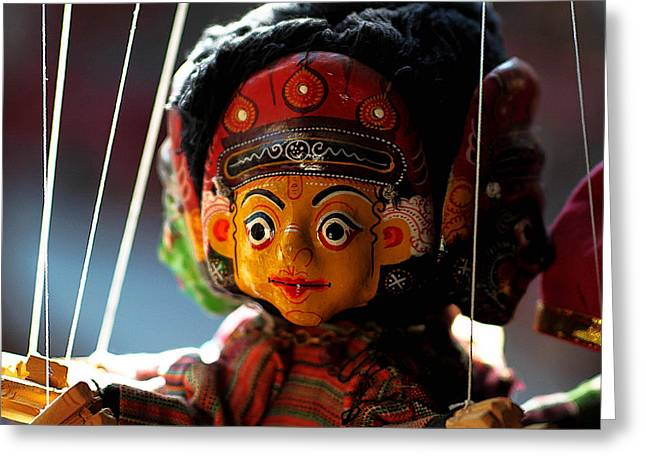 Religious Artwork Mixed Media Greeting Cards - Nepali Puppet Greeting Card by Xiongwei Shen