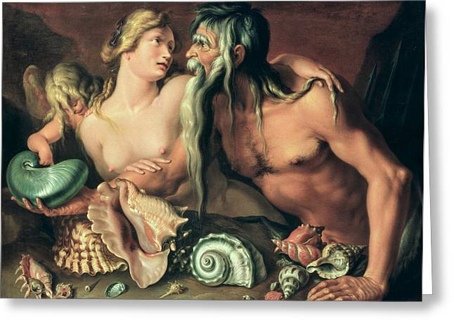 Blond Hair Greeting Cards - Neptune and Amphitrite Greeting Card by Jacob II de Gheyn