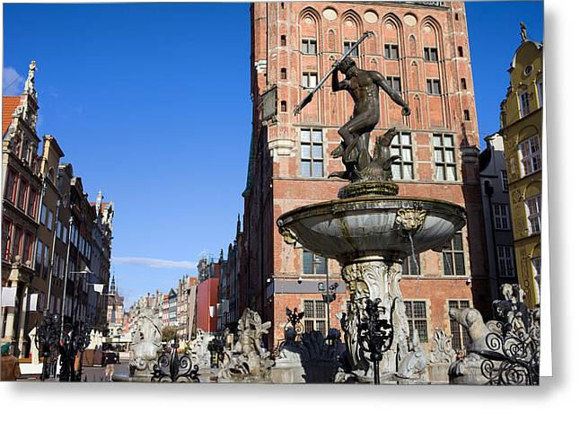 Recently Sold -  - Polish Culture Greeting Cards - Neptune Fountain in Gdansk Greeting Card by Artur Bogacki