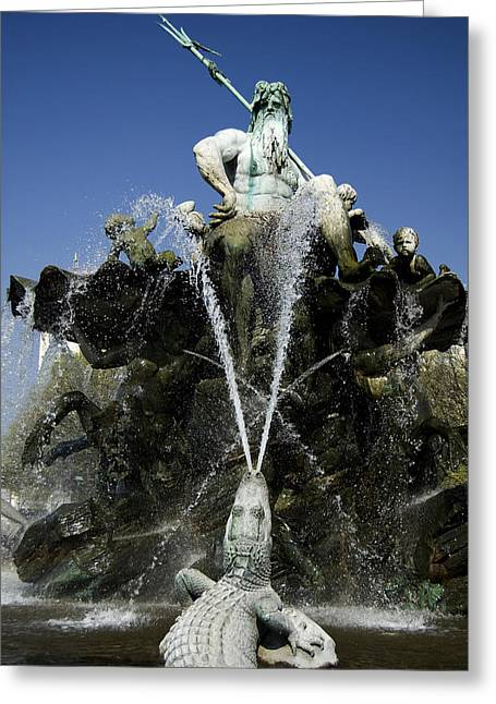 Berlin Germany Greeting Cards - Neptune Fountain Greeting Card by RicardMN Photography