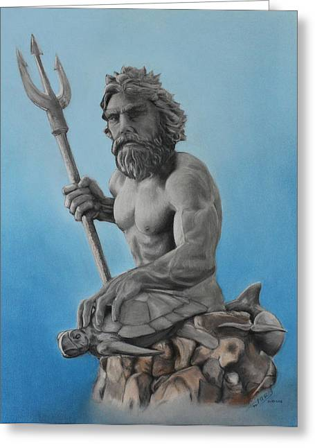 Greek Sculpture Mixed Media Greeting Cards - Neptune Greeting Card by Miguel Rodriguez