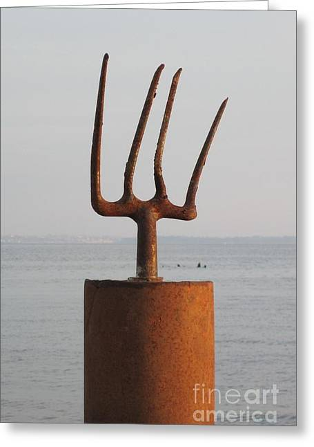 Recycled Sculptures Sculptures Greeting Cards - Neptune Greeting Card by Richard Heffron