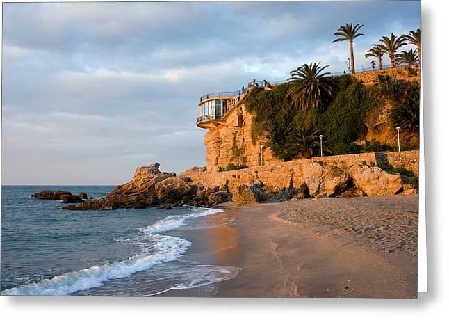 Costa Greeting Cards - Nerja Beach and Balcon de Europa Greeting Card by Artur Bogacki