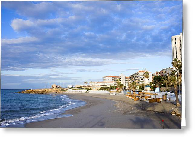 Costa Greeting Cards - Nerja Beach on Costa del Sol Greeting Card by Artur Bogacki