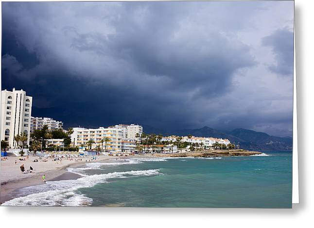 Costa Greeting Cards - Nerja Beach on Costa del Sol in Spain Greeting Card by Artur Bogacki