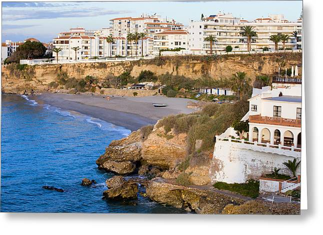 Costa Greeting Cards - Nerja Town on Costa del Sol Greeting Card by Artur Bogacki