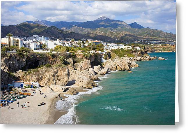 Costa Greeting Cards - Nerja Town on Costa del Sol in Spain Greeting Card by Artur Bogacki