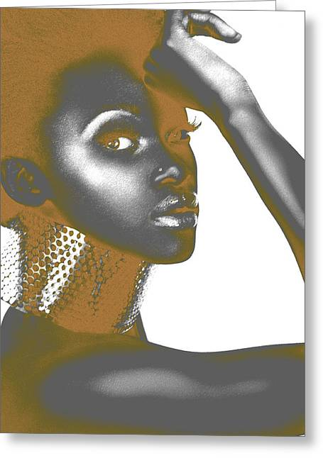 African Woman Greeting Cards - Nesha Greeting Card by Naxart Studio