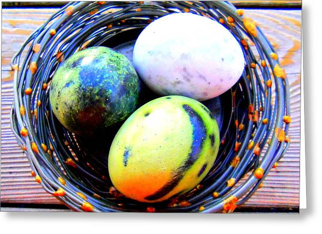 Birds In A Nest Greeting Cards - Nest Eggs Greeting Card by Randall Weidner