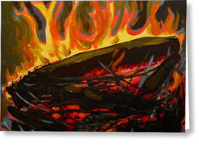 Nest on fire Greeting Card by Tilly Strauss