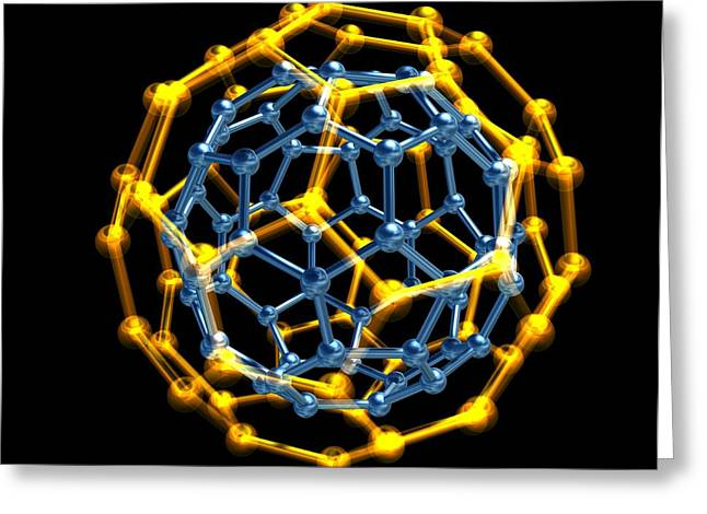 Bonding Greeting Cards - Nested Fullerene Molecules Greeting Card by Pasieka