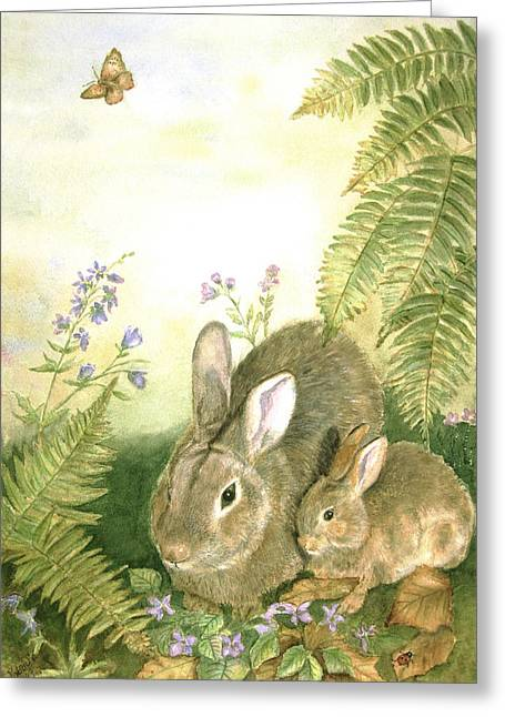 Forest Floor Paintings Greeting Cards - Nesting Bunnies Greeting Card by Patricia Pushaw