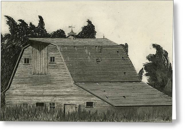 Old Barns Drawings Greeting Cards - Nestled Memories Greeting Card by Bryan Baumeister