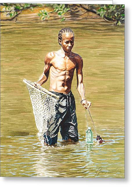 Etc. Paintings Greeting Cards - Netfishing Greeting Card by Gregory Jules