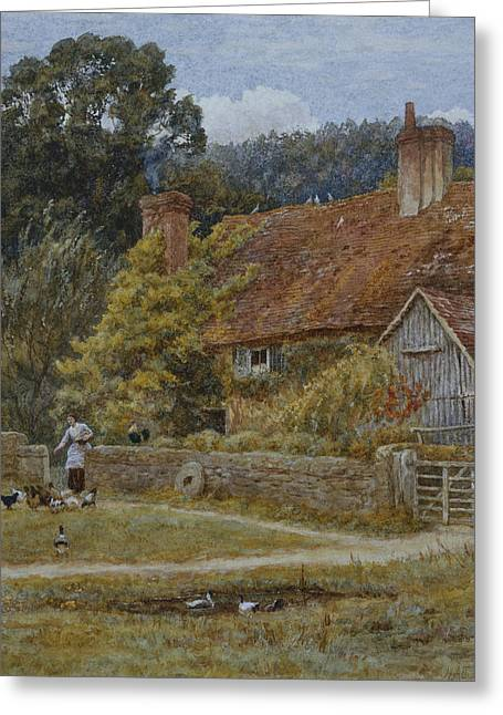 Farmhouse Greeting Cards - Netley Farm Shere Surrey Greeting Card by Helen Allingham