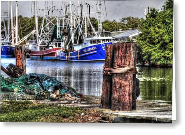 Nets And The Sea Goddess Greeting Card by Michael Thomas