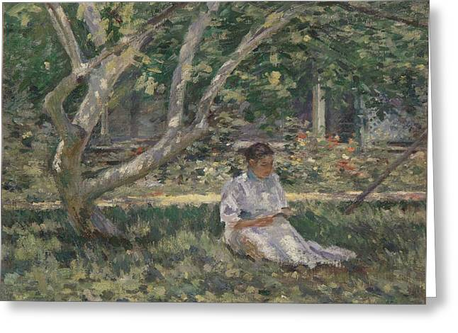 Solitude Paintings Greeting Cards - Nettie Reading Greeting Card by Theodore Robinson