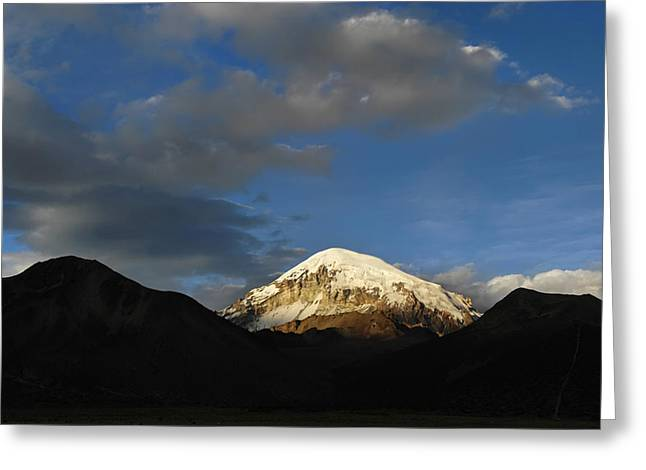 Nevado Sajama at sunset. Republic of Bolivia.  Greeting Card by Eric Bauer