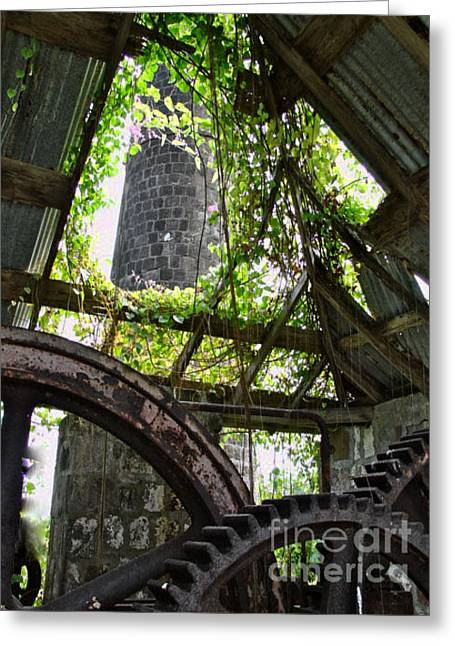 Saint Christopher Digital Art Greeting Cards - Nevis Sugar Mill Greeting Card by Louise Fahy
