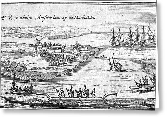 Canoe Photographs Greeting Cards - NEW AMSTERDAM, c1627 Greeting Card by Granger