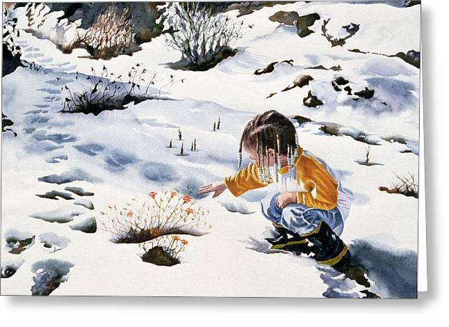 Girl In Snow Greeting Cards - New Beginnings Greeting Card by Maureen Dean