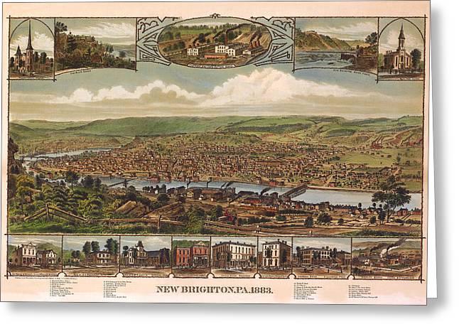 New Brighton Pennsylvania 1883 Greeting Card by Donna Leach