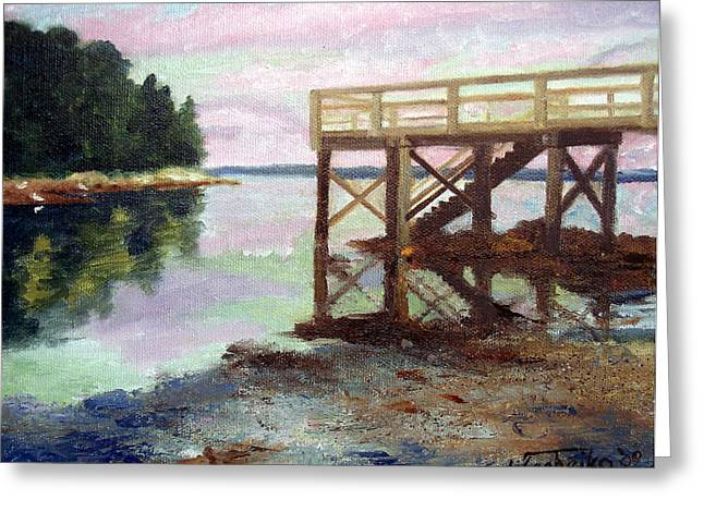 Maine Beach Greeting Cards - New Dock at Saturday Cove Beach Greeting Card by Laura Tasheiko