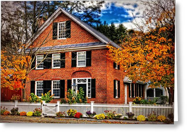 New England Brickhouse Greeting Card by Thomas Schoeller