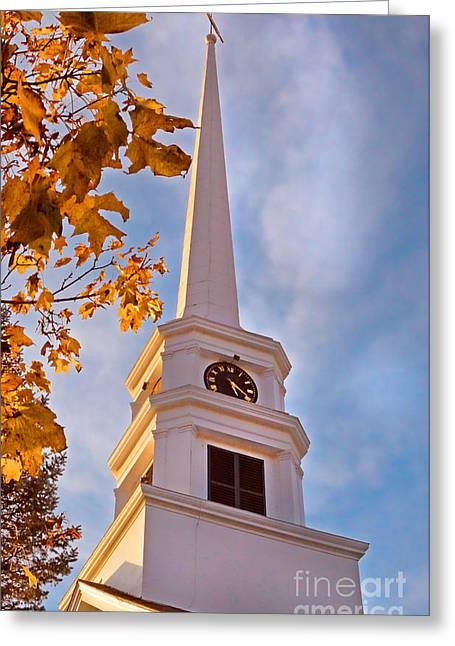 New England Village Greeting Cards - New England Church in Autumn Greeting Card by Jill Battaglia