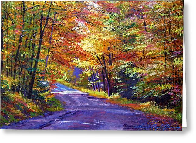 Nature Scene Paintings Greeting Cards - New England Roads Greeting Card by David Lloyd Glover