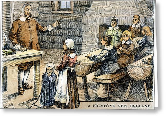 Apron Greeting Cards - New England: Schoolhouse Greeting Card by Granger