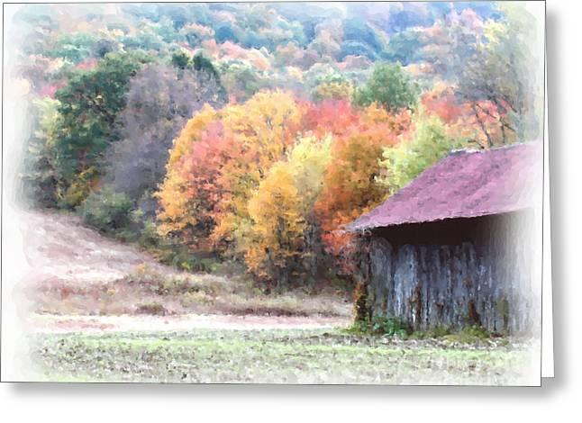 Old Barns Mixed Media Greeting Cards - New England Tobacco Barn In Watercolor Greeting Card by Smilin Eyes  Treasures