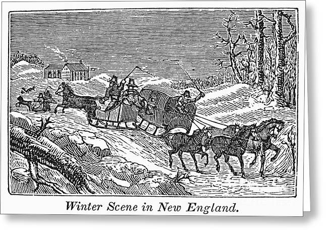 Drawn Landscape Greeting Cards - New England: Winter Greeting Card by Granger