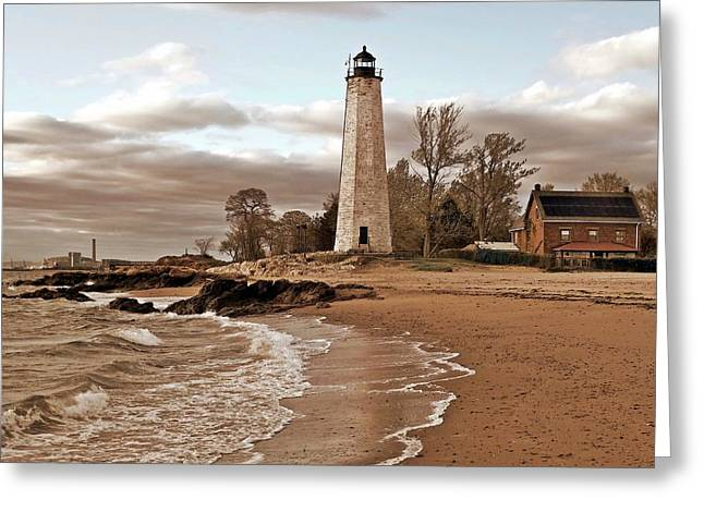 New Pyrography Greeting Cards - New Haven Lighthouse Greeting Card by Frank Garciarubio