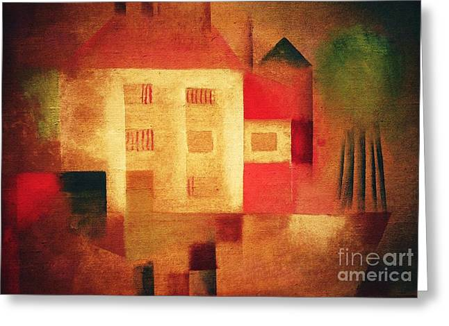 Swiss Paintings Greeting Cards - New House In The Suburbs Greeting Card by Pg Reproductions